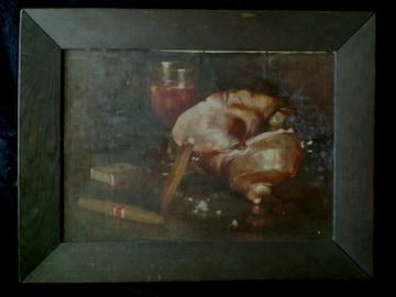 絵画 ある巨匠の油彩画 貝とワイングラスの静物画です。