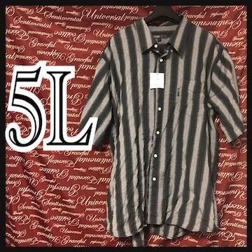 5L・グラデ風ストライプシャツ新品/MC03P-005