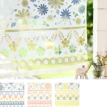 カフェカーテン ポタリー 小花柄 透かし加工 インテリア雑貨