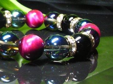 ピンクタイガーアイ§オニキス・ブルーオーラ12ミリ数珠