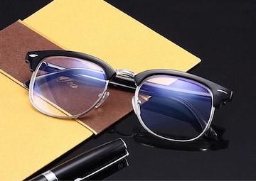 サーモント メガネ ブルーライトカット 伊達眼鏡 パソコン用 黒