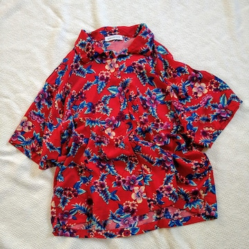WEGO/レトロなフラワープリントアロハシャツ/美品