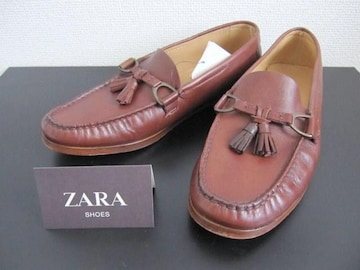 □ZARA/ザラ レザー デッキシューズ/ローファー/牛革/メンズ27.5cm☆新品