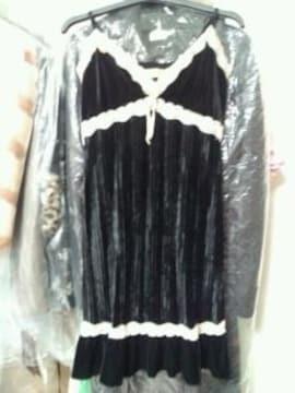 黒フェークベロアキャミミニワンピースドレスベージュレースS