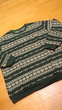 MATERIALーADWORKS カウチン柄 デザインセーター 緑白 サイドXXXL 3XL