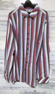 セールビッグシルエットレッドブルーストライプ柄ロングシャツ