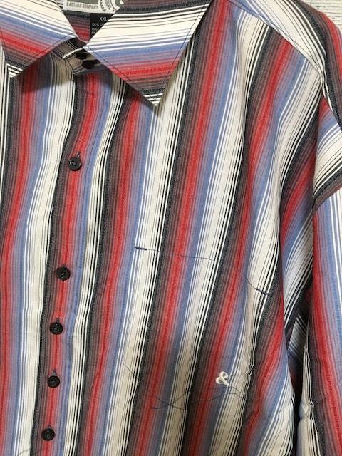 セールビッグシルエットレッドブルーストライプ柄ロングシャツ < 男性ファッションの