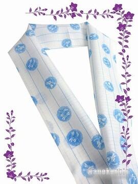 【和の志】夏物(絽)カジュアル半襟◇白(ブルー系)蜻蛉◇12