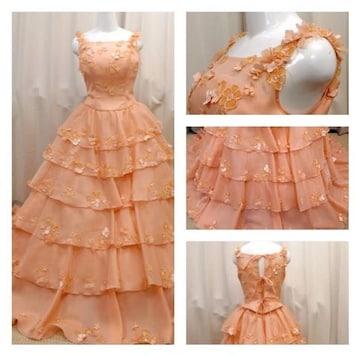 美品キラキラフラワー花付きフラル プリンセスカラードレス