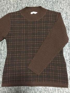 ブラウン系 黒格子柄×リブ 長袖ニット Mサイズ 日本製