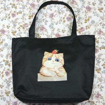 ◆猫大好き◆猫柄トートバッグ キャンバス黒地 BA05