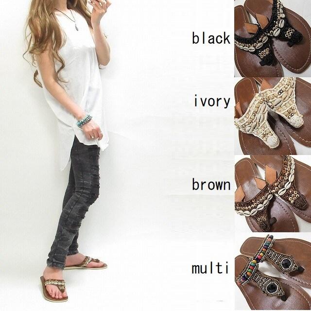 NEW最新39黒エスニック/トングサンダルぺたんこサンダル1805  < 女性ファッションの
