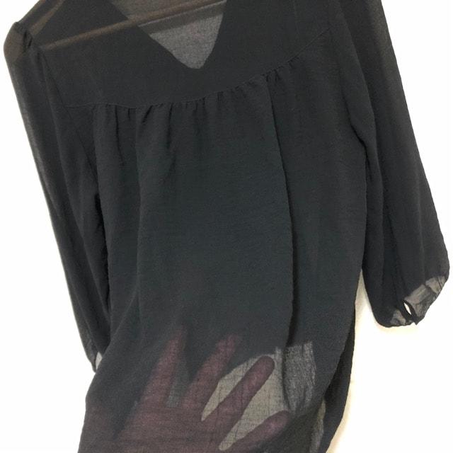 バイカラー薄手ブラウス シャツ < 女性ファッションの