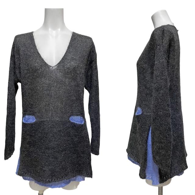 新品ステファネルSTEFANELモヘアセーター グレー #XS★ < 女性ファッションの