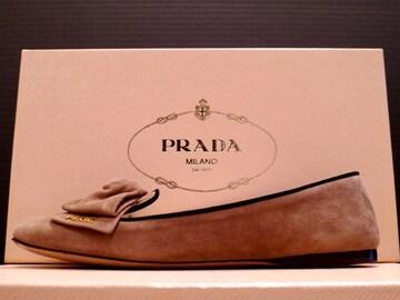 美品◆PRADA プラダ リボンデザイン スエード フラット パンプス