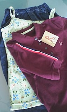 未使用3点セットMキャミ半袖ポロシャツデニムロングスカート