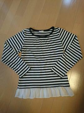 ロンTシャツ/長袖シャツ/カットソー/白黒ボーダー柄/サイズ150�p