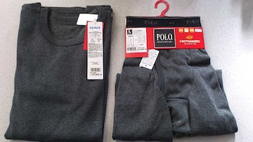 激安54%オフヒートテック、発熱、Polo長袖シャツ、タイツ(新品タグ、黒、日本製、L)
