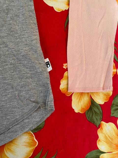 新品未使用☆BASE CONTROL☆グレー×ピンク☆七分袖Tシャツ☆ < ブランドの