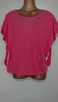 ショッキングピンクTシャツレース可愛いF