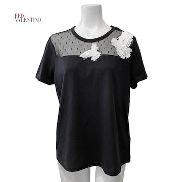 新品レッドヴァレンティノRED VALENTINOチュールTシャツ黒#M