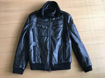 ショップオリジナル 立襟レザーライダースジャケット サイズM
