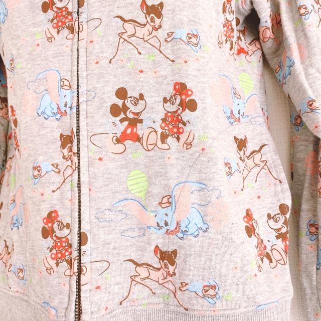 Disneyミッキーミニーダンボバンビとんすけグレーフードパーカー < 女性ファッションの