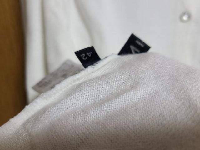 INDIVI昨季美品白バックボタンドルマンカットソーニット大きいサイズ4213号15号 < ブランドの