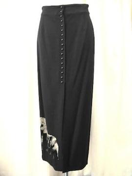 【伊太利屋】アニマルプリント黒ロングスカートです