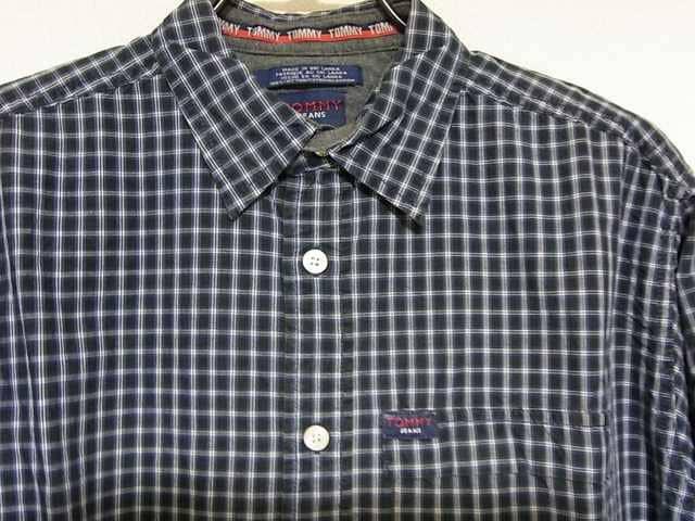 即決USA古着トミージーンズチェックデザインシャツ!アメカジトミーヒルフィガーレア < ブランドの