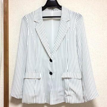 MURUA ムルーア ベーシック シフォン 細ストライプ ジャケット 白 黒