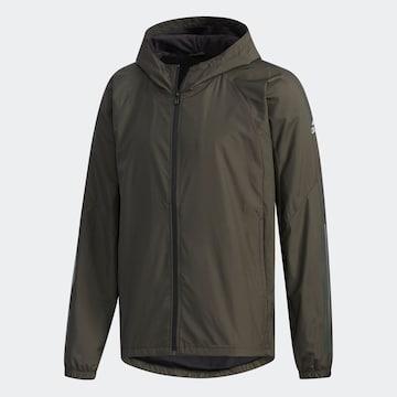 M緑)アディダス★ウィンドブレーカージャケット FYB84 フード付暖か裏地防風