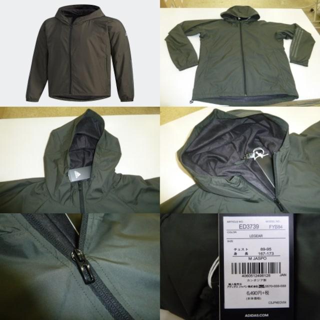 M緑)アディダス★ウィンドブレーカージャケット FYB84 フード付暖か裏地防風 < レジャー/スポーツの