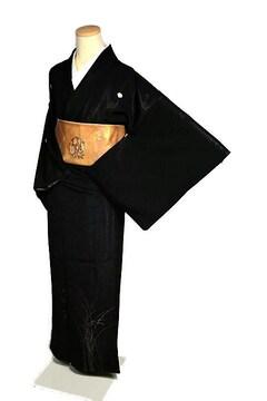 【単衣】【最高級】美品 銀通し 銀糸 芒文 5つ紋 訪問着 T2125