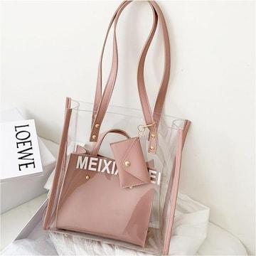【ピンク】レディース 透明バッグ ショルダーバッグ