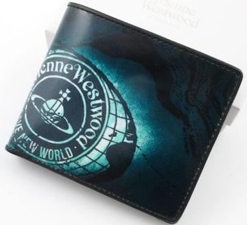 新品/箱付 ヴィヴィアンウエストウッド 二つ折り財布 ブルー系
