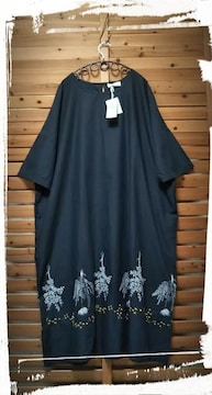 *ohana*ボタニカル刺繍 ゆるふわ ワンピース 新品 black \10584