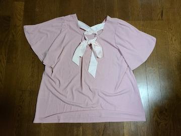 送料無料/大きいサイズ4L可愛いピンクリボンデザイン半袖トップス