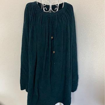 コーデュロイグリーン★マキシ丈スカート☆フリーサイズ