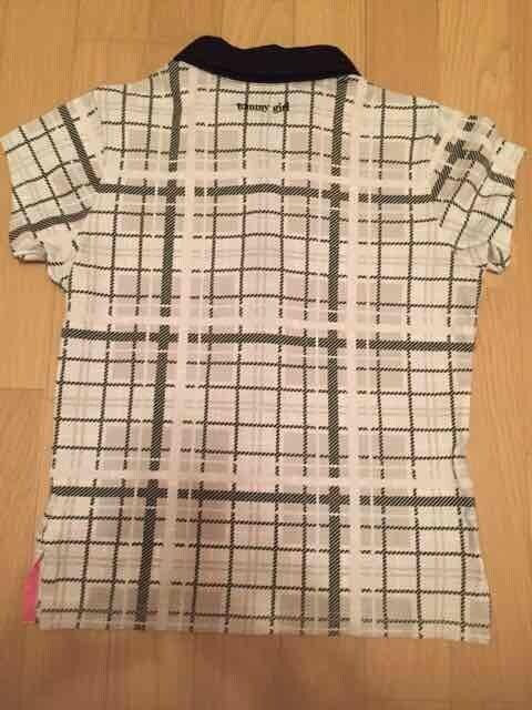 トミーガール チェックポロシャツ 黒×グレー×ピンク XS < ブランドの