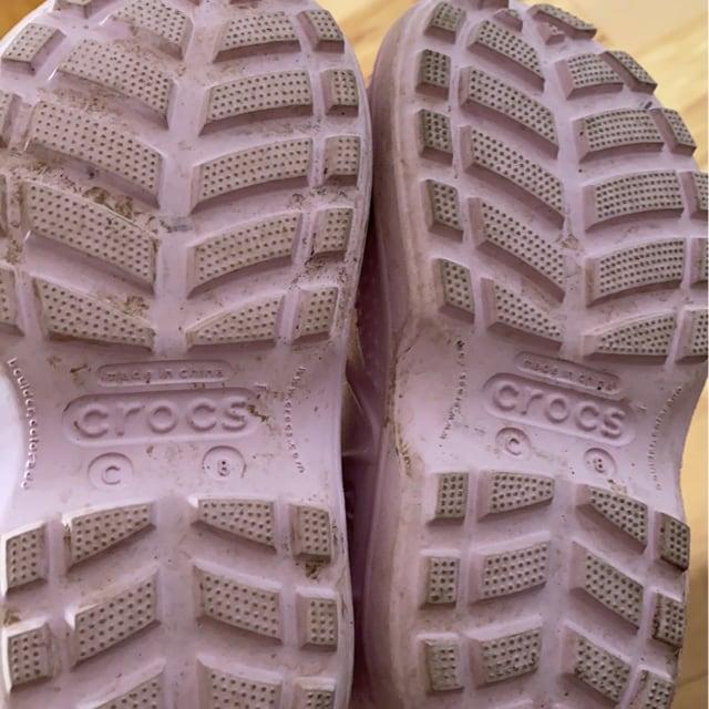 crocs女の子ピンク長靴 < キッズ/ベビーの