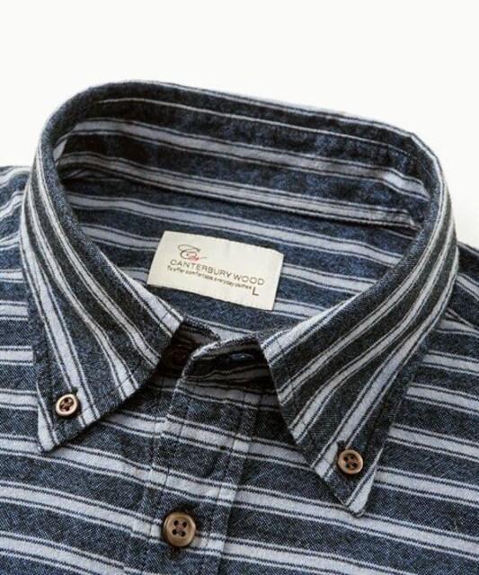 3Lサイズ!ブランド品カンタベリーウッド高貴紳士的オックス起毛ボタンダウン長袖シャツ! < 男性ファッションの