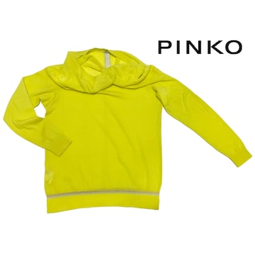 新品ピンコPINKOカシミア100%薄手セーター ネオンイエロー#M