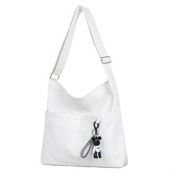 帆布 キャンバス バッグ 【ホワイト】 ショルダーバッグ