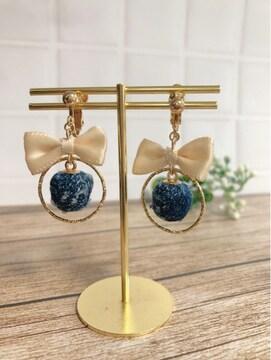 ...handmade earring/kids/リボン×denim...