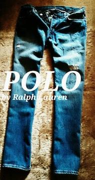 【POLO】ラルフローレン Vintage Destroyed デストロイジーンズ 36/L.Wash
