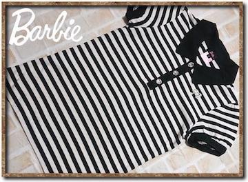 バービー ラインストーン付きボーダーカットポロシャツ 白×黒