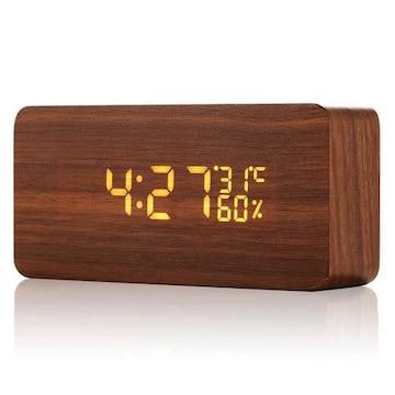 目覚まし時計 置時計 デジタル 多機能 大音量 LED 木目