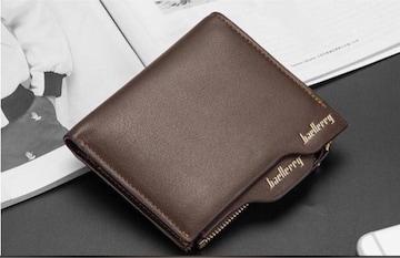 財布 二つ折り財布 メンズ お札 カードケース 小銭入れ 茶色