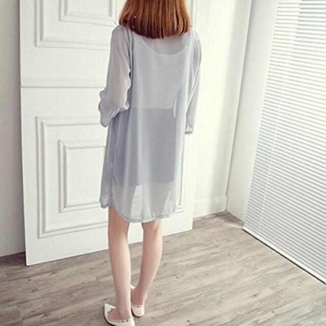 日焼け&冷房 対策★シースルー★7分袖カーデガン (グレー) < 女性ファッションの